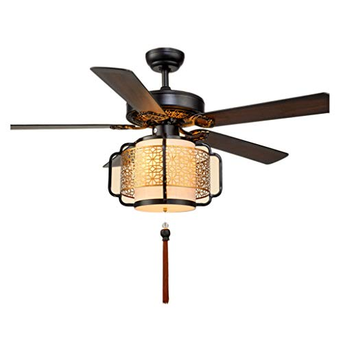 BingWS Ceiling Fan Light Chinese Ceiling Fan Light Wood Lantern 5 Leaf Electric Fan Chandelier Living Room Fabric Fan Light Ceiling Fan (Color : Gold Silk Cover, Size : 52 inches)