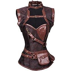 Charmian Women's Retro Goth Spiral Steel Boned Brocade Steampunk Bustiers Corset with Jacket and Belt Dark-Brown Medium