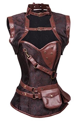 Charmian Women's Retro Goth Spiral Steel Boned Brocade Steampunk Bustiers Corset with Jacket and Belt Dark-Brown XX-Large