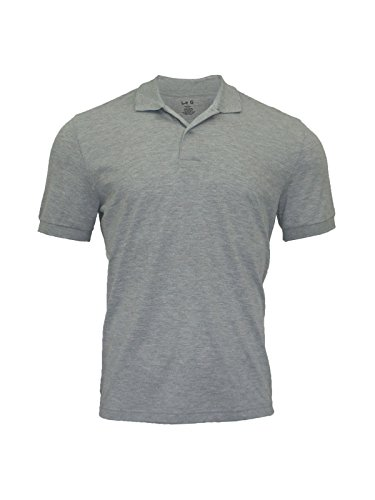 Le G Men's Classic Fit Short Sleeve Quick-Dry Mesh Polo Shirt (X-Large, Gray)