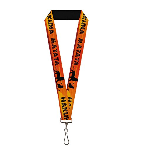 Buckle Down Lanyard-1.0-Lion King Hakuna Matata Sunset Oranges/blac