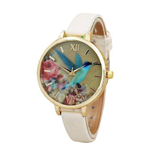 Women's Watch,Howstar Fashion Blue Hummingbird Women Leather Band Analog Quartz Movement Wrist Watch, (Beige)