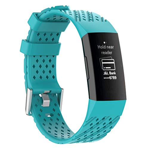 Haluoo Silicone Sport Bands Compatible with Fitbit Charge 3 Women Men, Soft Breathable Sport Replacement Strap Wristband Accessories, Black White Gray Pink Green Sky Blue Purple (Sky Blue)