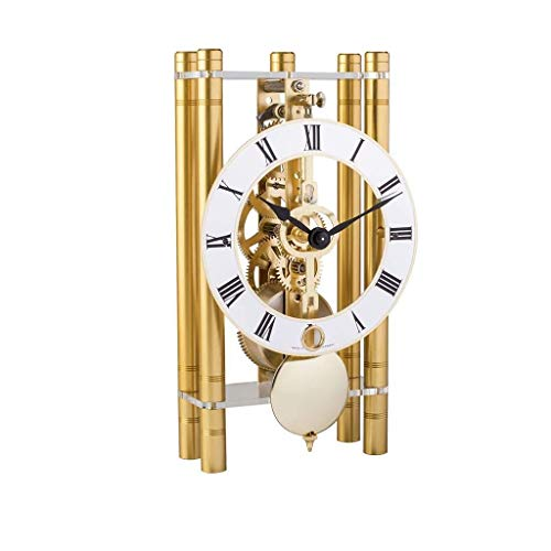 Qwirly Store: Mikal Mechanical Table Clock #23020500721 by Hermle - Roman Style Skeleton Chiming Desk or Mantle Clock - Gold with Gold Pendulum