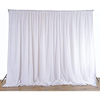 BalsaCircle 20 Feet X 10 White Fabric Backdrop Drapes Curtains
