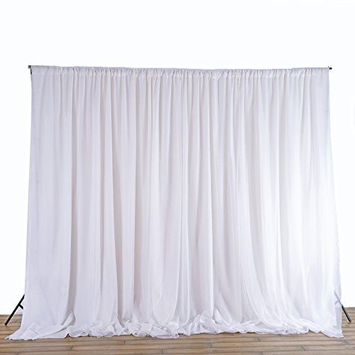 BalsaCircle 20 ft x 10 ft White Chiffon Fabric Backdrop Drapes Curtain - Wedding Decorations Photo Booth Reception Photography Party Supplies (Wedding Backdrop Drapes)
