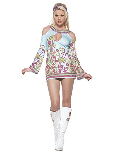 [Sexy Open Shoulder Hippie Dress 60s 70s Retro Costume Groovy GoGo Blue Floral Sizes: Medium-Large] (Beatnik Costumes Ideas)