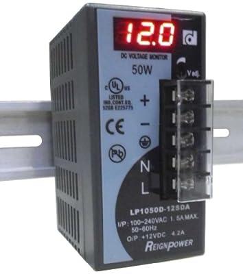 REIGNPOWER LP1050D-12SDA 50W 12VDC 4A Din Rail Power Supply Voltage Monitor Display