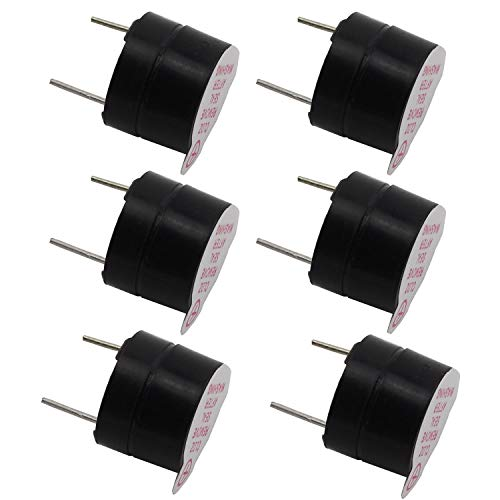 TOTOT 6PCS Black 5V Electromagnetic Active Buzzer Continous Beep Continuously Alarm Tone Mini Active Piezo Buzzers Fit for Computers Printers Electronic Components