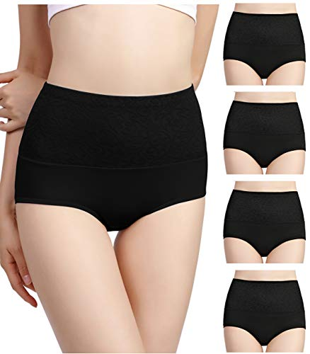 Hcaixing Womens High Waist Cotton Briefs Underwear Tummy Control C-Section Recovery Soft Stretch Panties(4 Pack) (L) ()