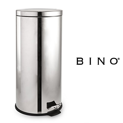 BINO Stainless Steel 7.9 Gallon / 30 Liter Rounded Square Step Trash Can, Polished Chrome by BINO