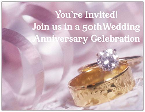 Wedding Anniversary Party Invitation with Wedding Rings Photo for 50th Wedding Anniversary - 50 /Pack with Envelopes - Style ()