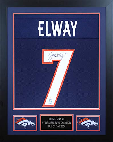 John Elway Autographed Blue Denver Broncos Jersey - Beautifully Matted and Framed - Hand Signed By John Elway and Certified Authentic by JSA - Includes Certificate of - John Autographed Elway Jersey