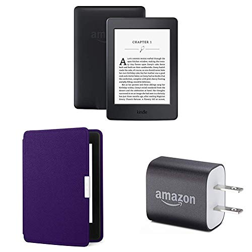 "Kindle Paperwhite Essentials Bundle including Kindle Paperwhite 6"" E-Reader (Previous Generation - 7th), Black , Amazon Leather Cover - Royal Purple, and Power Adapter"