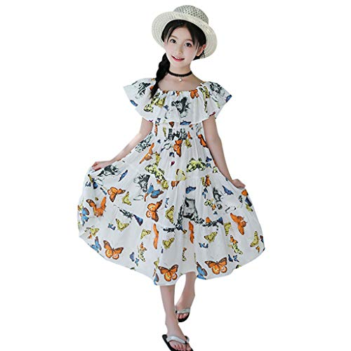 (3-12T Child Kid Baby Girls Off Shoulder Ruffle Dresses Cute Animal Print Swing Knee Length Flowy Retro Boho Dresses (White, 9-10 Years))