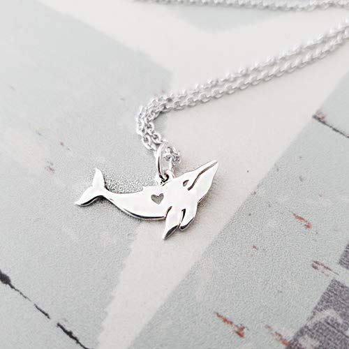Sterling Silver Humpback Whale Charm with Heart Cutout Necklace 18