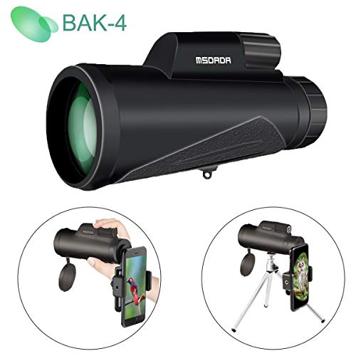 12X50 High-Powered Monocular Telescope for Phone, BAK4 Prism, Low Night Vision Waterproof Fog-Proof,Smartphone Adapter Tripod Holder Fit Adults Kids for Hiking, Hunting, Camping, Birding, Concert by MSDADA