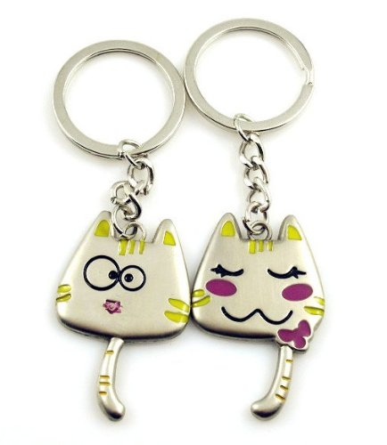 [DreamsEden Color Gift Box Packaging Weird Long Tail Cartoon Cat Couple Keychains Bag Key Rings Best Key Chain Gift for Valentine Wedding Anniversary (A Pair)] (Cat Valentine Greeting Cards)