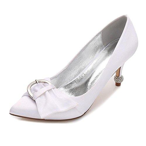 Satin de Pour Party YC Robe Ribbon Pump Mariée 26 de Femmes F17767 Summer amp; white Basic Mariage Chaussures Comfort Evening L w71qa6Iw