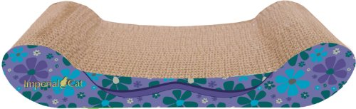 Imperial Cat Lounge Scratch and Shape, Retro Purple Floral, My Pet Supplies