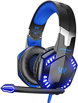 VersionTECH. G2000 Stereo Gaming Headset for Xbox One PS4 PC, Surround Sound Over-Ear Headphones with Noise Cancelling Mic, LED Lights, Volume Control for Laptop, Mac, PS3, Nintendo Switch Games -Blue - 10146552 , B012DFI02O , 285_B012DFI02O , 1001565 , VersionTECH.-G2000-Stereo-Gaming-Headset-for-Xbox-One-PS4-PC-Surround-Sound-Over-Ear-Headphones-with-Noise-Cancelling-Mic-LED-Lights-Volume-Control-for-Laptop-Mac-PS3-Nintendo-Switch-Games-Blue-285_B