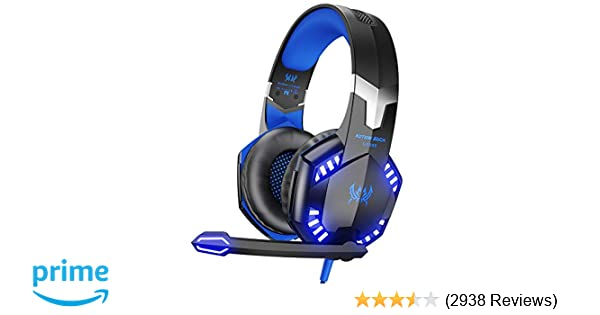 G2000 Stereo Gaming Headset for Xbox One PS4 PC, Surround Sound Over-Ear Headphones with Noise Cancelling Mic, LED Lights, Volume Control for Laptop, Mac, ...