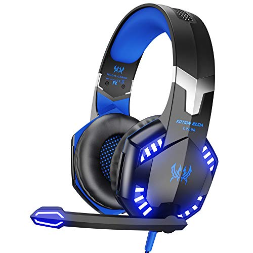 Video Games : VersionTECH. G2000 Stereo Gaming Headset for Xbox One PS4 PC, Surround Sound Over-Ear Headphones with Noise Cancelling Mic, LED Lights, Volume Control for Laptop, Mac, iPad, Nintendo Switch Games -Blue