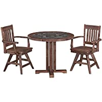 Home Styles 5601-325 Round Table and Two Swivel Chairs Morocco Dining Set (3 Piece)
