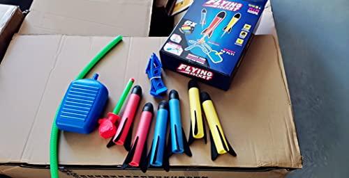 Lanciarazzi Giocattolo, Lanciarazzi Bambini con 6 Razzi di Schiuma, Sport e Giochi all'aperto Regalo di Compleanno di Natale per Bambini di 3-12 Anni