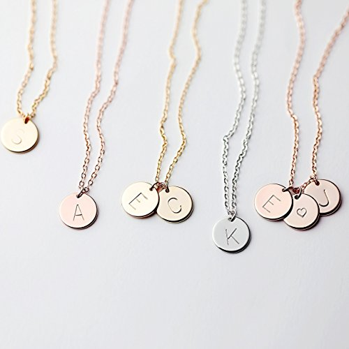 Delicate Initial Disc Necklace Rose Gold Initial Necklace Best Friend Personalized Bridesmaid Gift - CN (14k Gold Personalized Bangles)