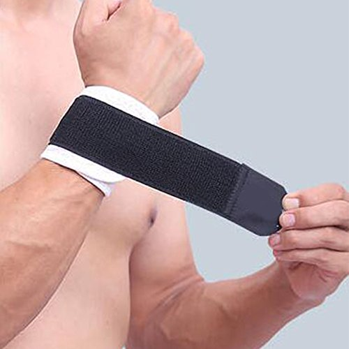 Athletic Wrist Support/Brace Breathable&Elastic for Workout&Golf&Sports like Basketball, volleyball, Tennis for Men and Women(1 Pc) (Black-White)