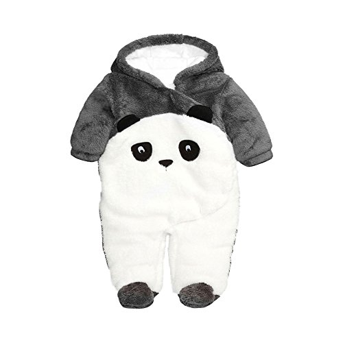 Fairy Baby Baby Boy Girl Winter Flannel Bunting Outfits Romper Outwear,0-3M,Grey Panda