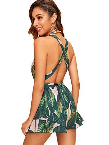 Floerns Women's V Neck Halter Strap Backless Leaf Print Shorts Romper Jumpsuit Green S