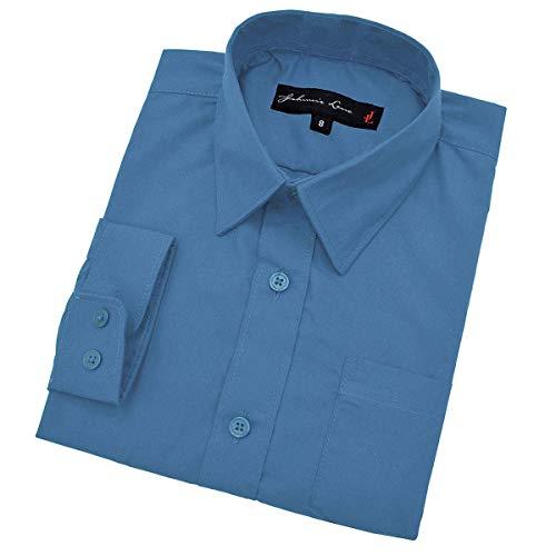 (Johnnie Lene Baby Boy's Long Sleeves Solid Dress Shirt #JL32 (24 Months, Vivid Blue))