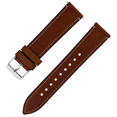 Quick Release Leather Watch Band, Fullmosa 6 Colors Wax Oil 14mm 16mm 18mm 20mm 22mm 24mm Leather Watch Strap,14mm Dark Brown+Silver Buckle-QR