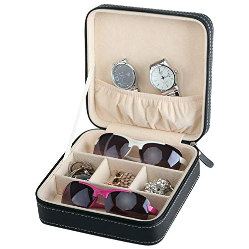 Homeater Portable Travel Zipper Box Sunglasses Case for Everyday Glasses Collector Storage(Black)