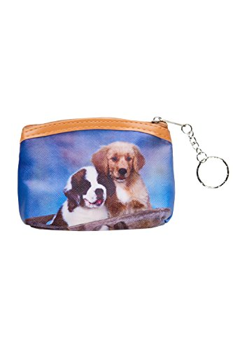 Lovely Cute Baby Dog Puppy Print Key Chain Zipper Coin Purse PCP-4208 (Saint Bernard&Golden Retriever) - Puppy Dog Handbag Purse Accessory