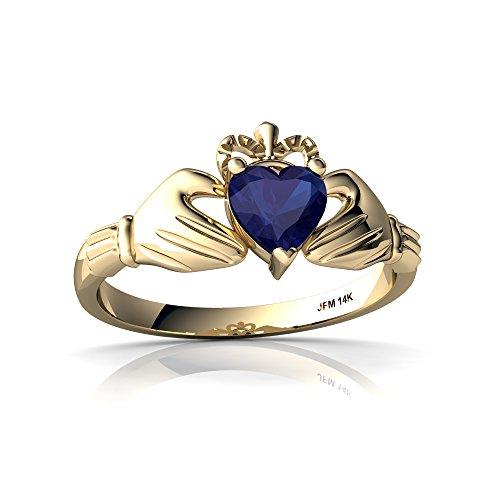 14kt Yellow Gold Lab Sapphire 5mm Heart Claddagh Ring - Size 5.5 (Yellow Gold Sapphire Claddagh Ring)