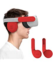 AMVR Silicone Ear Muffs for Oculus Quest 2 VR Headset to Enhanced Headset Sound, Quest 2 Accessories Headphone Extension Cover (Red, 1 Pair)