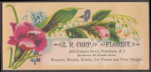 Z R Corp Florist Cranston St Providence RI trade card 1880s floral motif (Florist Ri)
