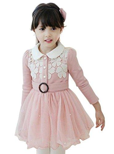 Little Girls Lace Flower Princess Winter Dresses with Waistband