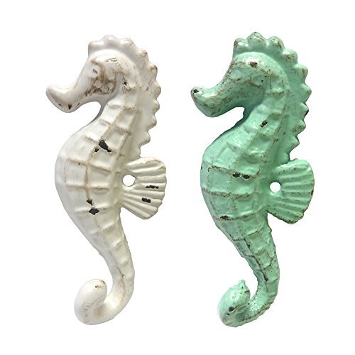 (Cast Iron Seahorse Wall Hooks, Assorted Colors, Set of 2)