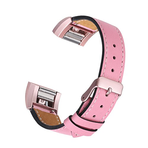 Pink Leather Band (bayite Leather Band for Fitbit Charge 2, Pink with line, 5.5