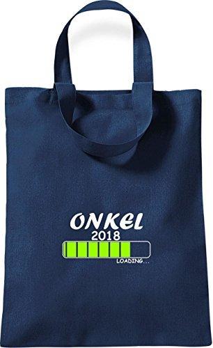 ShirtInStyle kleine Bolsa de algodón ONKEL 2018 Cargando Nacimiento Regalo - Rojo, 26 cm x 32,5 cm Azul