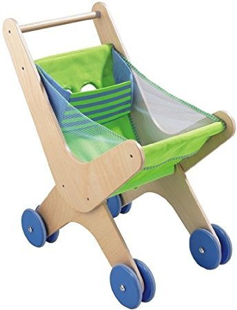 HABA Caddy - Classic Wood & Fabric Shopping Cart with Seating for 18 Months and Up (Made in Germany) by HABA