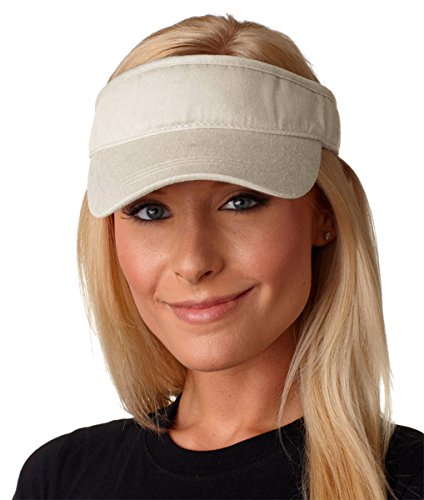 Adams Pigment Dyed Lined Breeze Twill Visor, OS, Stone