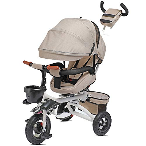 YUMEIGE Kids' Tricycles Kids Tricycle Foldable with Push Handle Kids Pedal Bicycle with Sunshade Roof 1-6 Years OldLoad Weight 50kg Baby Carriage Boys Girls Toy Car (Color : Khaki)