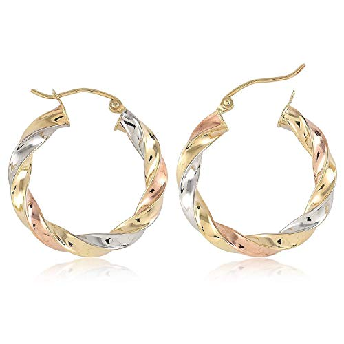 TousiAttar Hoop Earrings Spiral- Tri Color Round 14k Gold Earring for Women and Girlfriend - Unique Jewelry for Everyday- Size 1 inch