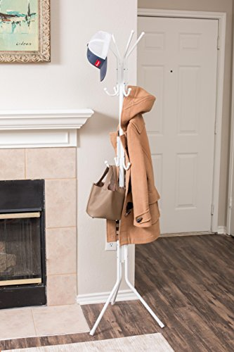 Internet s Best Free Standing Coat and Hat Rack 12 Hooks Classic Umbrella Scarf Purse Stand Lightweight Sturdy White
