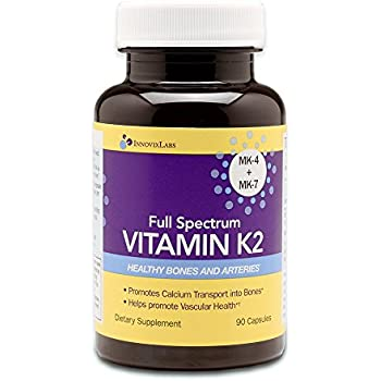 Full Spectrum VITAMIN K2 (by InnovixLabs). Provides two essential forms of K2 (MK-4 + MK-7). Total of 600 mcg of K2 per capsule. Soy-free. 90 Capsules.